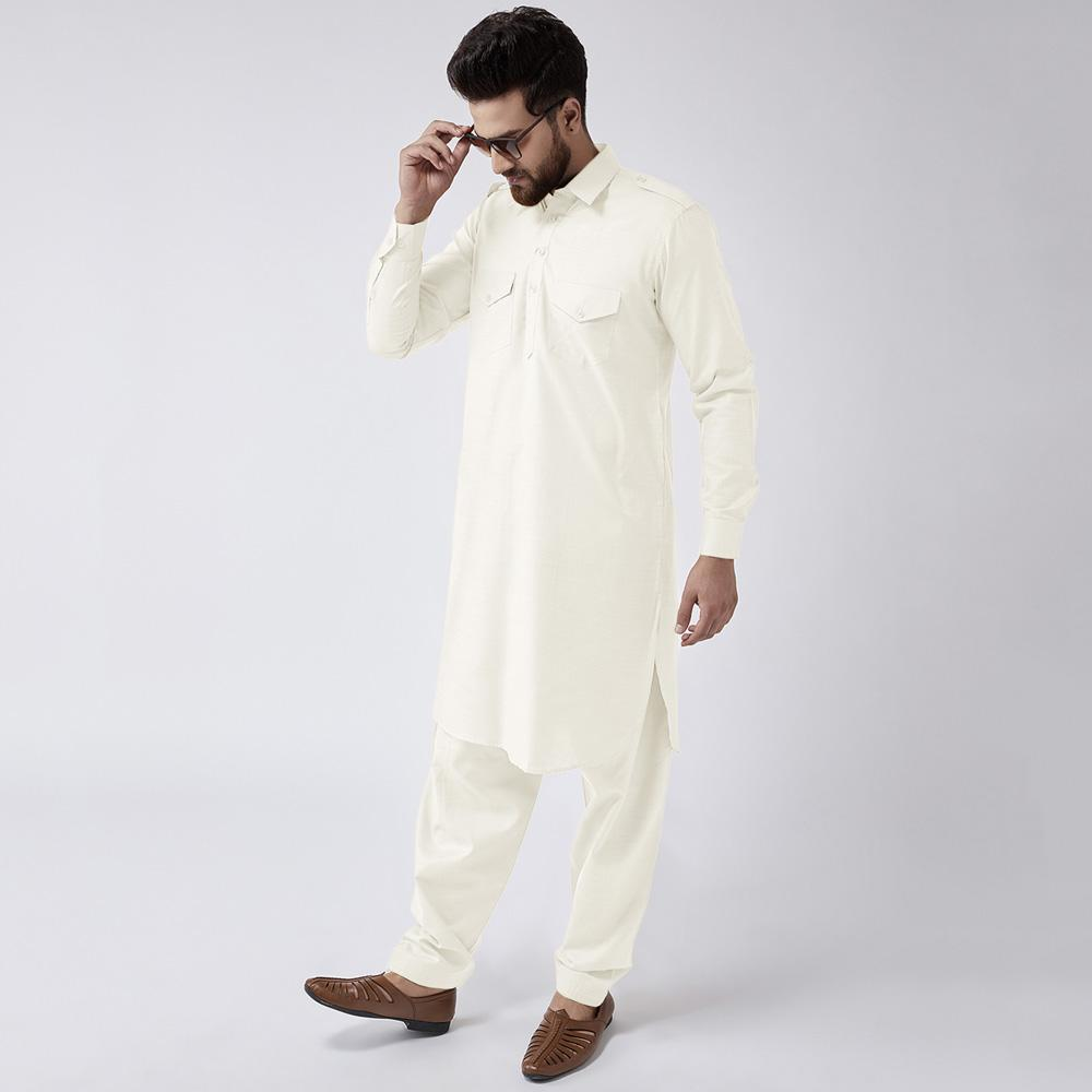 Velvour Shahjahan American Cotton Unstitched Suit Men's Unstitched Suit YTC Off White