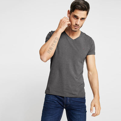 TMH Men's Classic V-Neck Tee Shirt Men's Tee Shirt Fiza Charcoal XS
