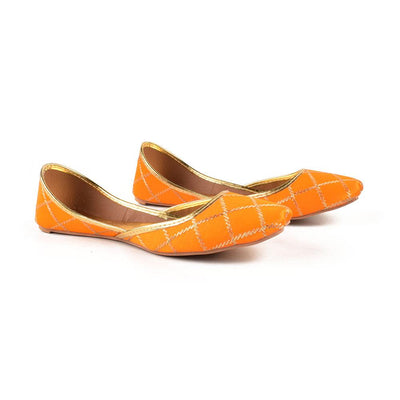Embroidered Velvet Khussa Women's Shoes Hpral Mustard EUR 37