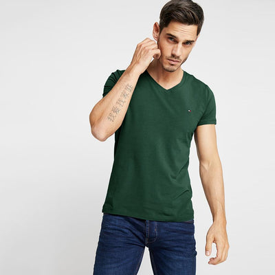 TMH Men's Classic V-Neck Tee Shirt Men's Tee Shirt Fiza Bottle Green XS