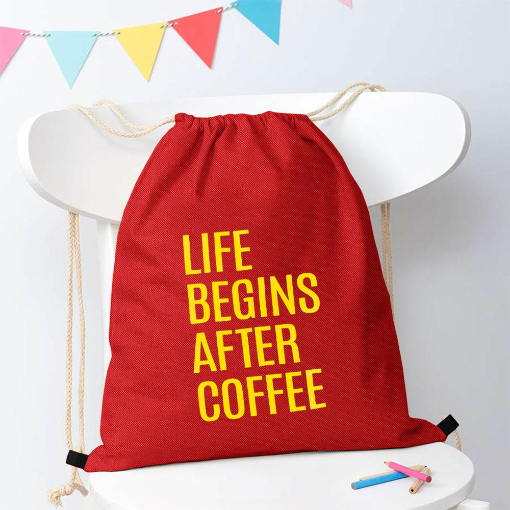 Polo Republica Life Begins After Coffee Drawstring Bag Drawstring Bag Polo Republica Red Yellow