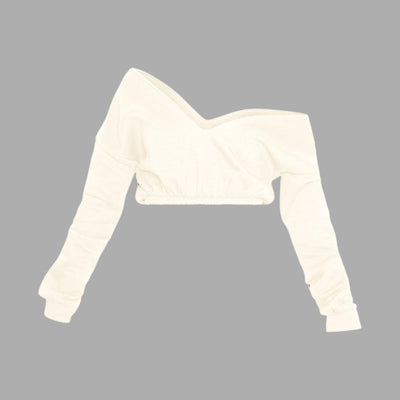 PLT Women's Crop Off Shoulder Sweat Shirt Women's Sweat Shirt AGZ Off White XS