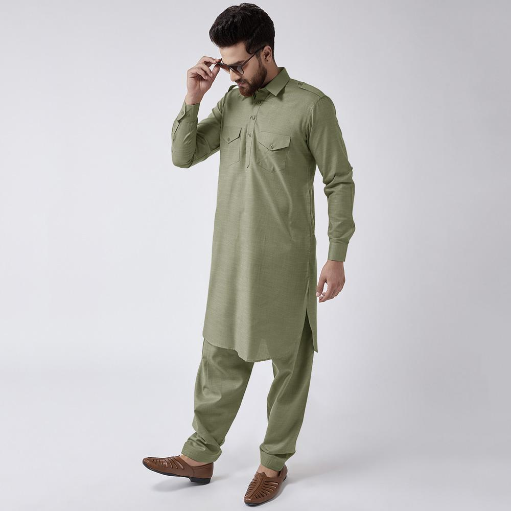 Velvour Shahjahan American Cotton Unstitched Suit Men's Unstitched Suit YTC Olive