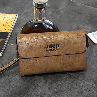 Jeep Buluo PU Leather Hand Bag Men's Accessories Sunshine China Brown