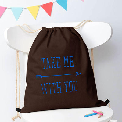 Polo Republica Take Me With You Drawstring Bag Drawstring Bag Polo Republica Brown Blue