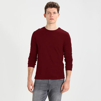 Polo Republica Tamura Long Sleeves Rib Tee Shirt Men's Tee Shirt Polo Republica Burgundy XS