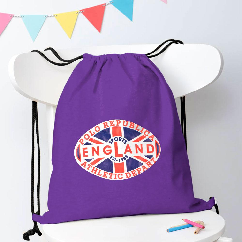 Polo Republica Sports England 1985 Drawstring Bag Drawstring Bag Polo Republica Purple