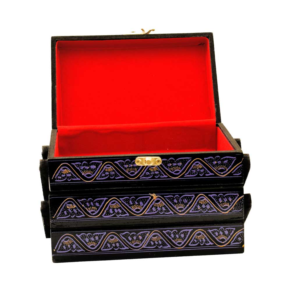 Handmade Bohemian Lacquer Art Three Drawer Wooden Jewelry Box Jewellery SAK