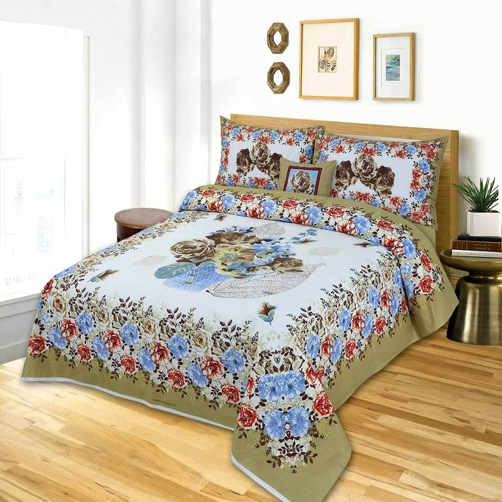 MGN Rosario Printed 4 Pcs Double Bed Sheet Set
