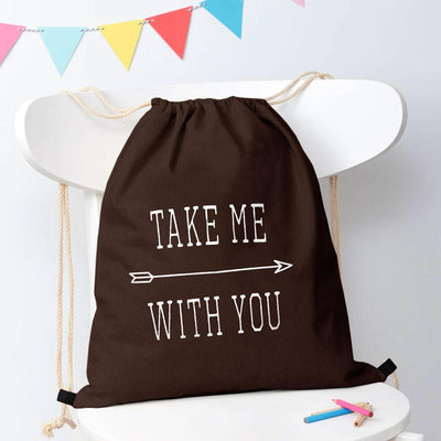Polo Republica Take Me With You Drawstring Bag Drawstring Bag Polo Republica Brown White