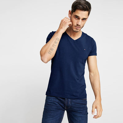 TMH Men's Classic V-Neck Tee Shirt Men's Tee Shirt Fiza Navy XS