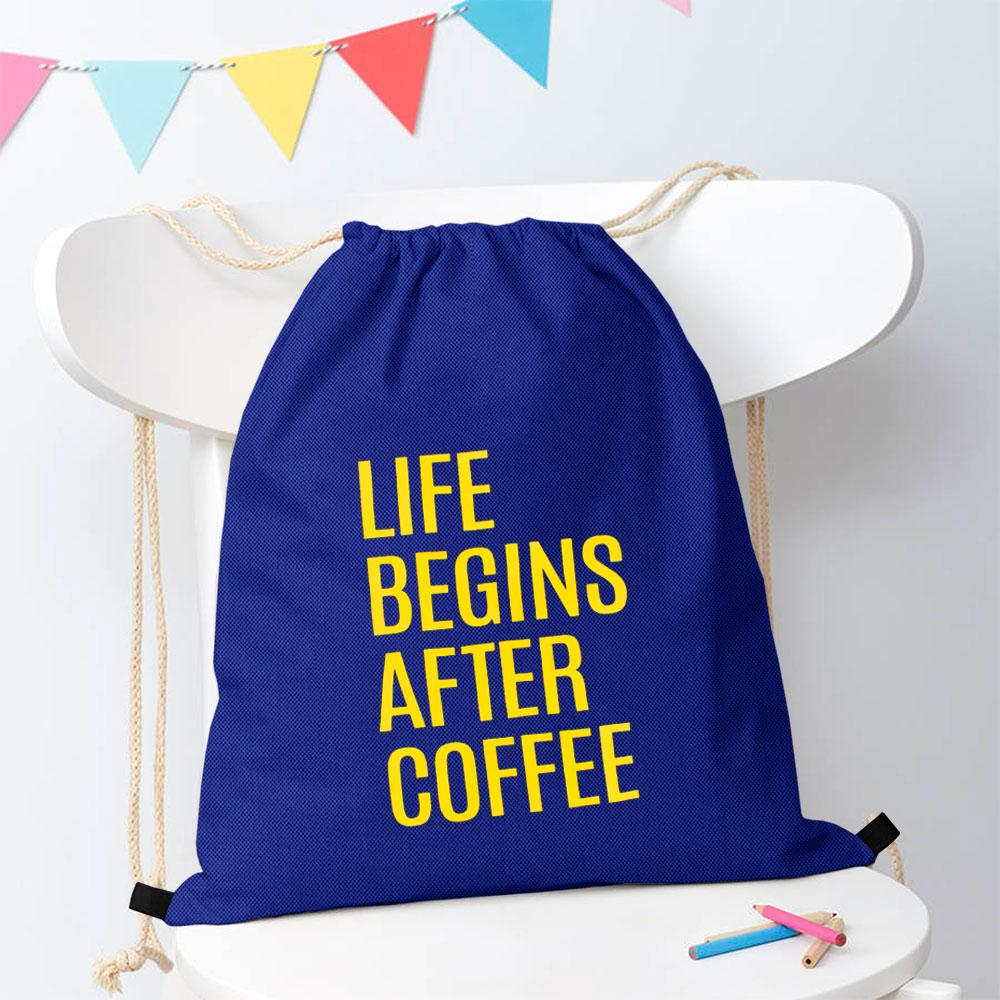 Polo Republica Life Begins After Coffee Drawstring Bag Drawstring Bag Polo Republica Royal Yellow