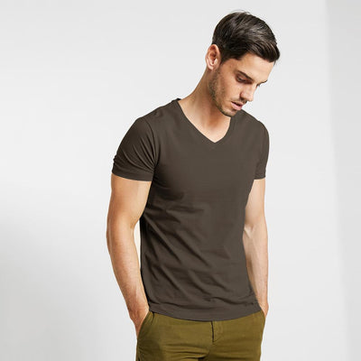 CSG Fabriciano V Neck Men's Solid Tee Shirt Men's Tee Shirt First Choice Dark Brown S