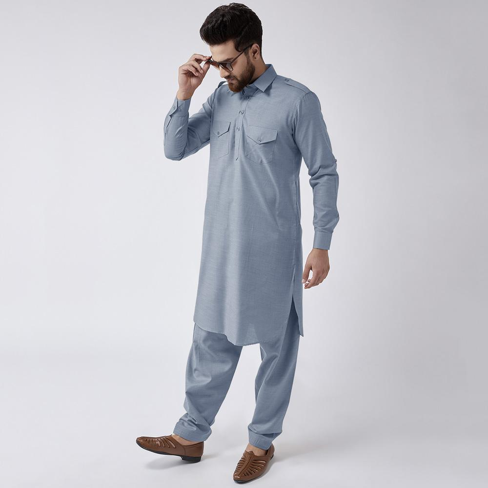 Velvour Shahjahan American Cotton Unstitched Suit Men's Unstitched Suit YTC Powder Blue
