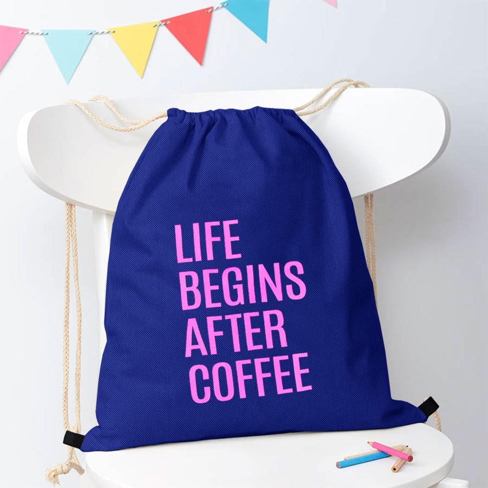 Polo Republica Life Begins After Coffee Drawstring Bag Drawstring Bag Polo Republica Royal Magenta