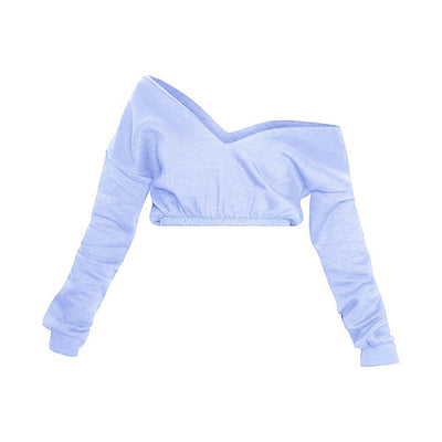 PLT Women's Crop Off Shoulder Sweat Shirt Women's Sweat Shirt AGZ Sky Blue XS