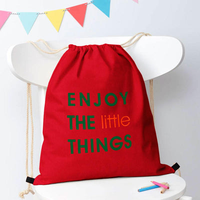 Polo Republica Enjoy Little Things Drawstring Bag Drawstring Bag Polo Republica Red Green