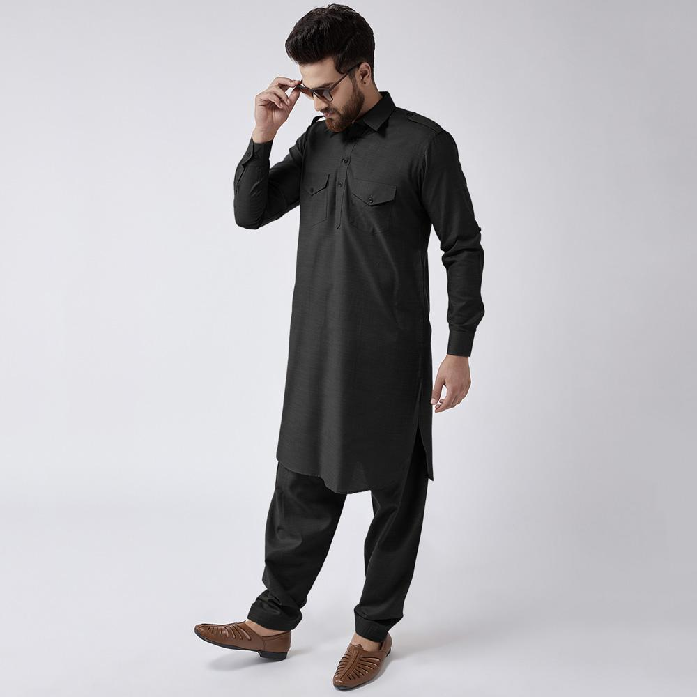 Velvour Shahjahan American Cotton Unstitched Suit Men's Unstitched Suit YTC Black
