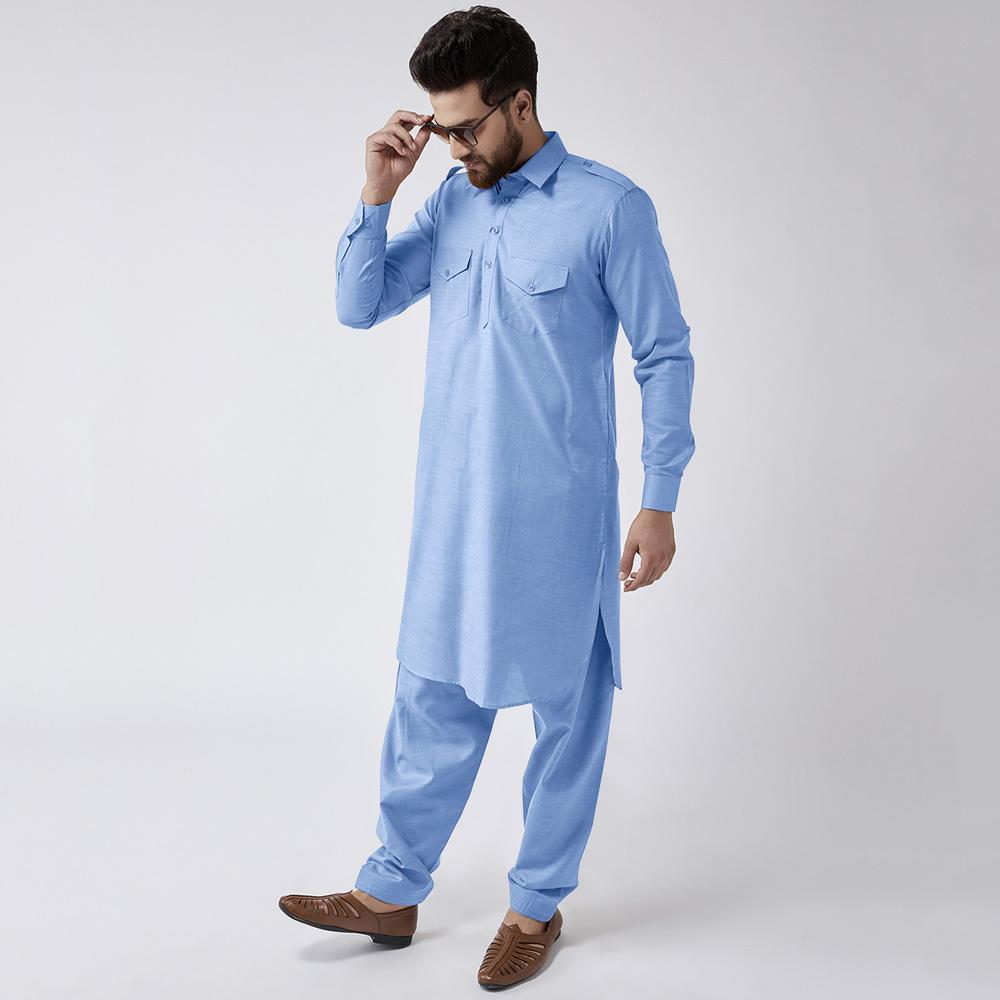 Velvour Shahjahan American Cotton Unstitched Suit Men's Unstitched Suit YTC Sky Blue