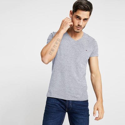 TMH Men's Classic V-Neck Tee Shirt Men's Tee Shirt Fiza Heather Grey XS