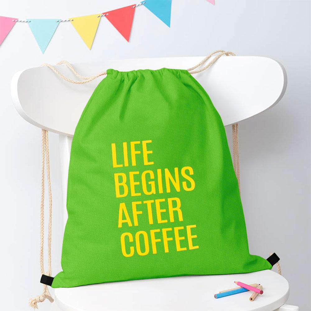Polo Republica Life Begins After Coffee Drawstring Bag Drawstring Bag Polo Republica Parrot Yellow