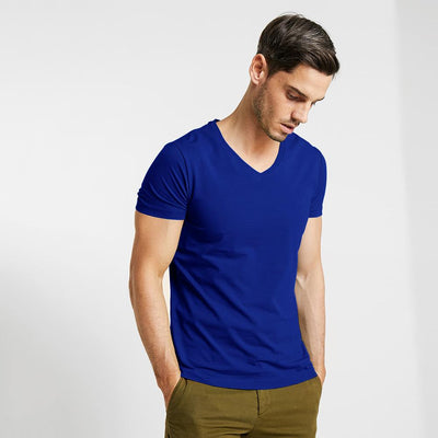 CSG Fabriciano V Neck Men's Solid Tee Shirt Men's Tee Shirt First Choice Royal S