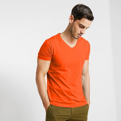 CSG Fabriciano V Neck Men's Solid Tee Shirt Men's Tee Shirt First Choice Orange S