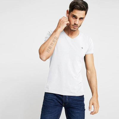 TMH Men's Classic V-Neck Tee Shirt Men's Tee Shirt Fiza White XS