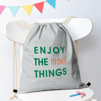 Polo Republica Enjoy Little Things Drawstring Bag Drawstring Bag Polo Republica Heather Grey Green