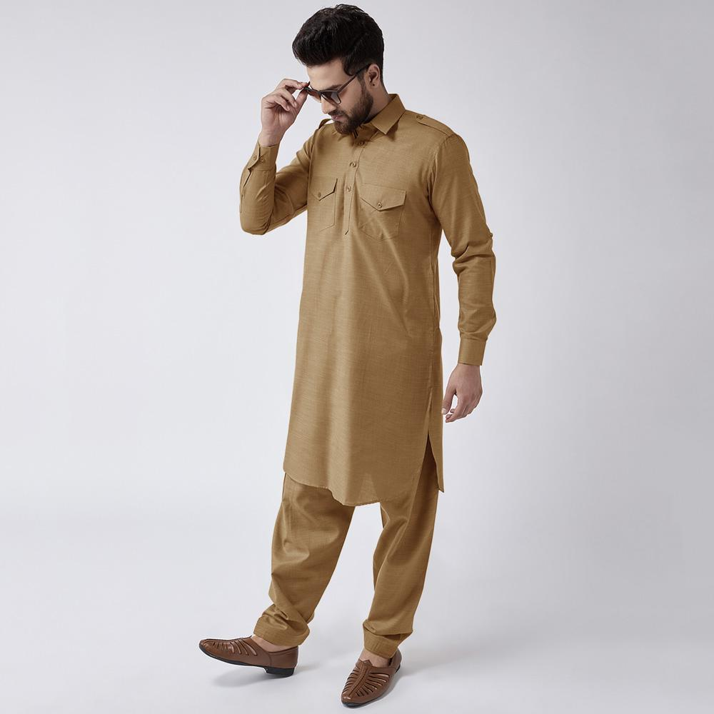 Velvour Shahjahan American Cotton Unstitched Suit Men's Unstitched Suit YTC Dark Camel