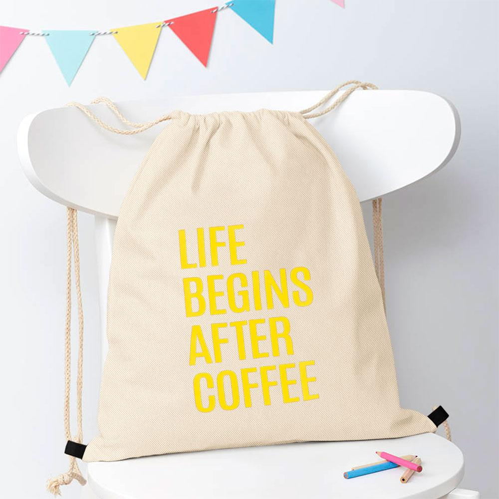 Polo Republica Life Begins After Coffee Drawstring Bag Drawstring Bag Polo Republica Off White Yellow