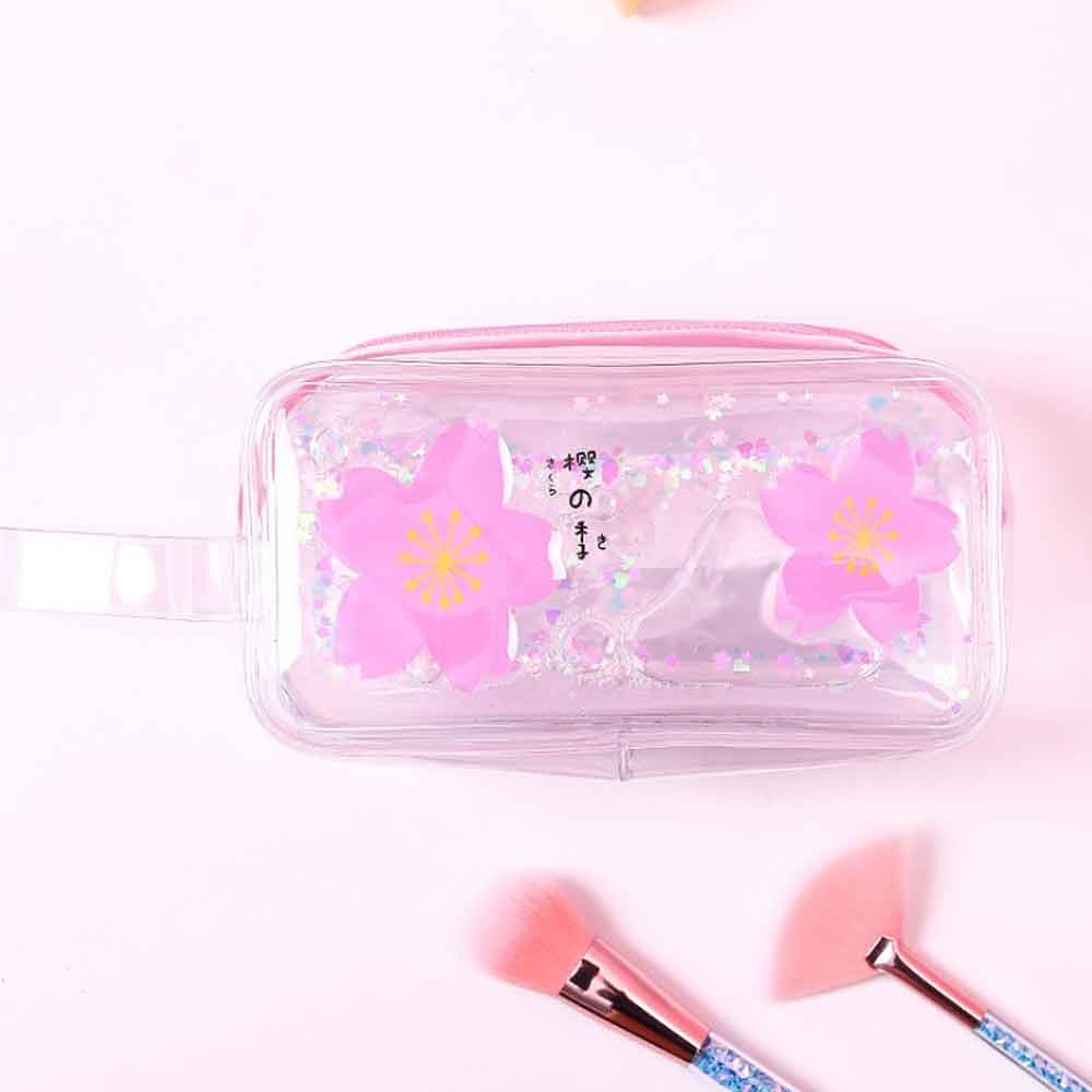 Scratch Free Translucent Quicksand Floral Stationery Bag Stationary & General Accessories Sunshine China Chamilia