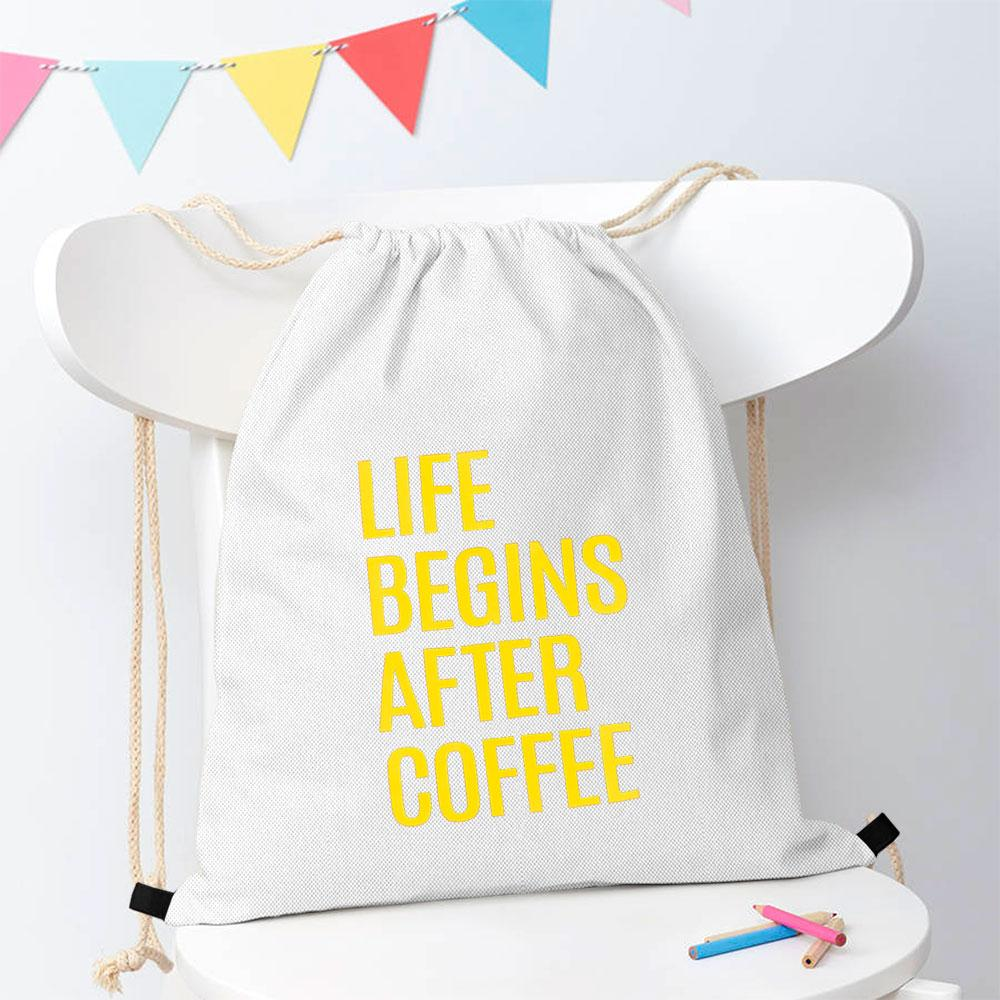 Polo Republica Life Begins After Coffee Drawstring Bag Drawstring Bag Polo Republica White Yellow