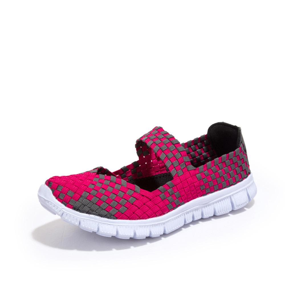 Women's Elastic Band Hand Woven Flat Sole Shoes Women's Shoes Sunshine China Magenta EUR 35