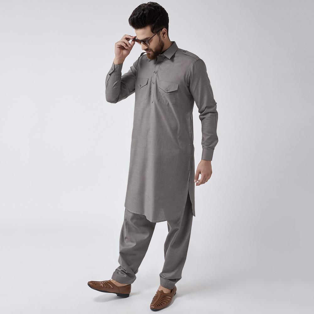 Velvour Shahjahan American Cotton Unstitched Suit Men's Unstitched Suit YTC Dark Grey