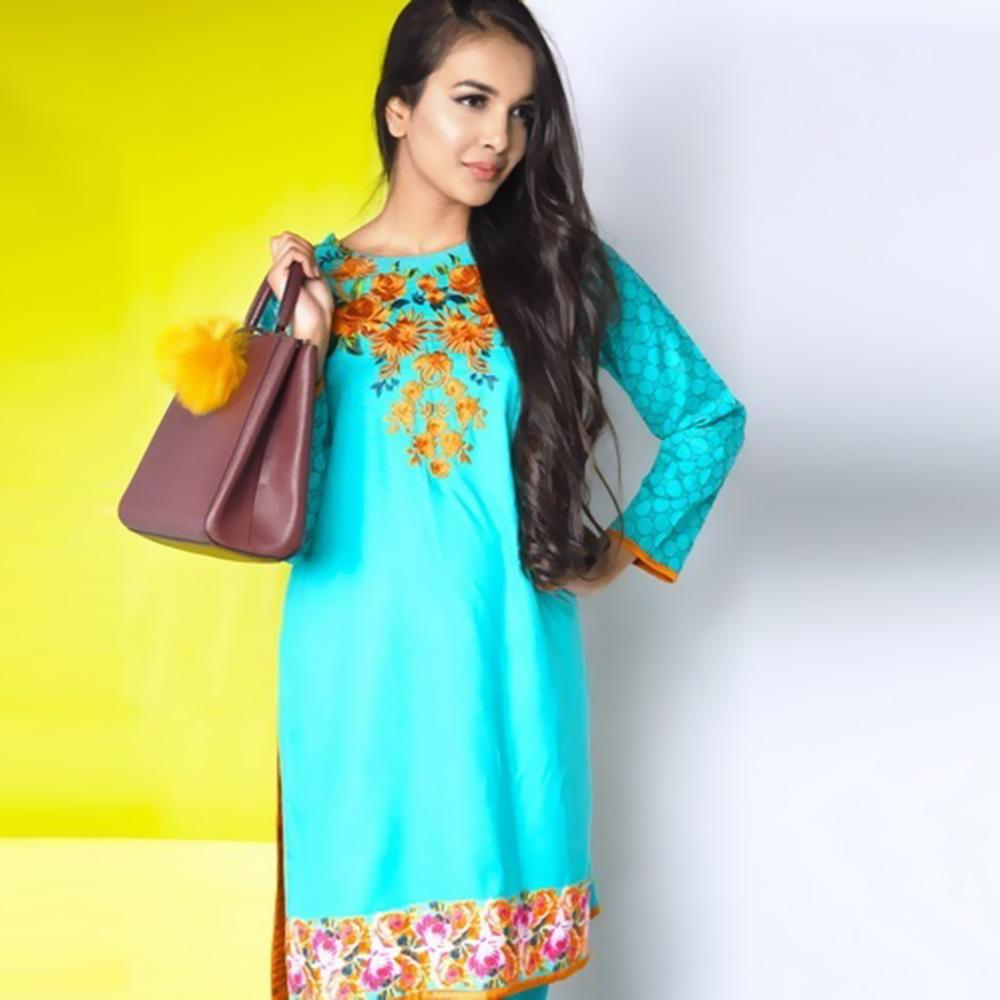 Nimsay Elegant Floral Embroidered Design Two Piece Stitched Linen Suit