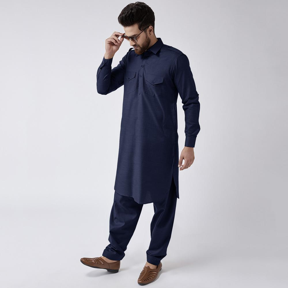 Velvour Shahjahan American Cotton Unstitched Suit Men's Unstitched Suit YTC Navy