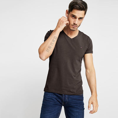 TMH Men's Classic V-Neck Tee Shirt Men's Tee Shirt Fiza Coffee XS