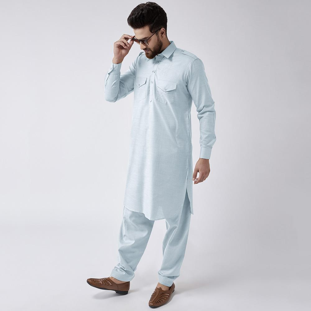 Velvour Shahjahan American Cotton Unstitched Suit Men's Unstitched Suit YTC Sea Blue