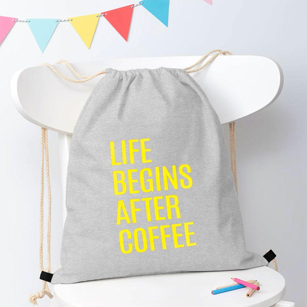 Polo Republica Life Begins After Coffee Drawstring Bag Drawstring Bag Polo Republica Heather Grey Yellow
