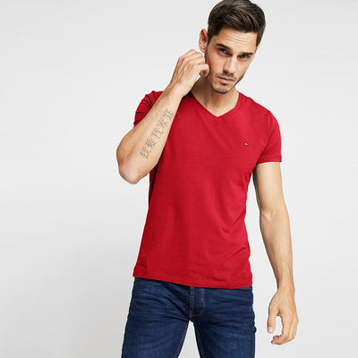 TMH Men's Classic V-Neck Tee Shirt Men's Tee Shirt Fiza Red XS