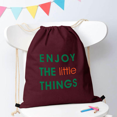 Polo Republica Enjoy Little Things Drawstring Bag Drawstring Bag Polo Republica Burgundy Green