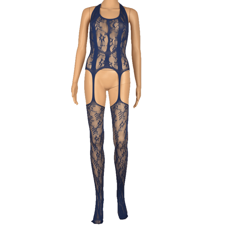 Women's Sexy Hollow Open File Siamese Jacquard Stockings Tight Nighty