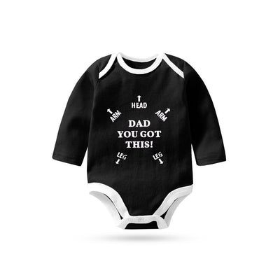 Polo Republica Dad You Got This Pique Long Sleeve Baby Romper Babywear Polo Republica Black White 0-3 Months