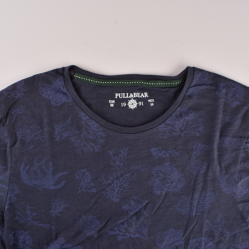 Pull&Bear Luxurious Style Crew Neck Tee Shirt Men's Tee Shirt First Choice Navy XS