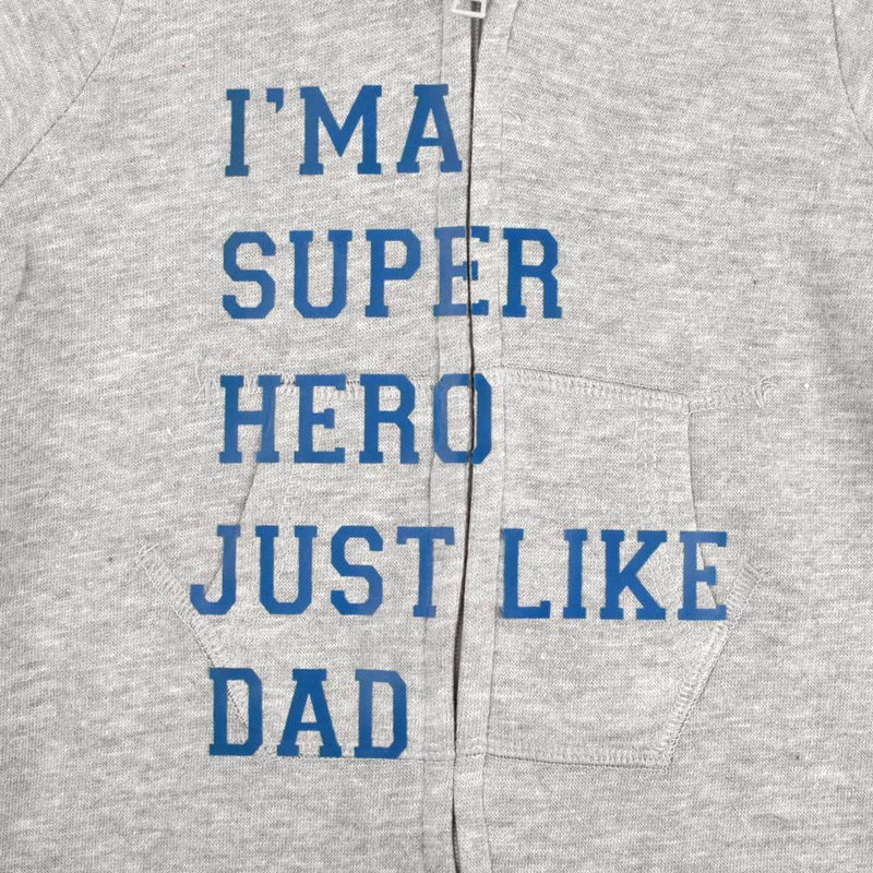 I Am A Super Hero Just Like Dad Full Body Romper Babywear Image Heather Grey Navy 6-12 Months