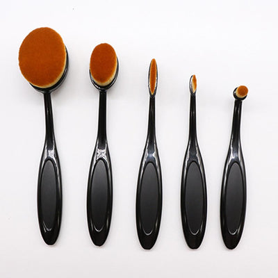 Oval Toothbrush Style Synthetic Foundation 5 Pcs Makeup Brush Set