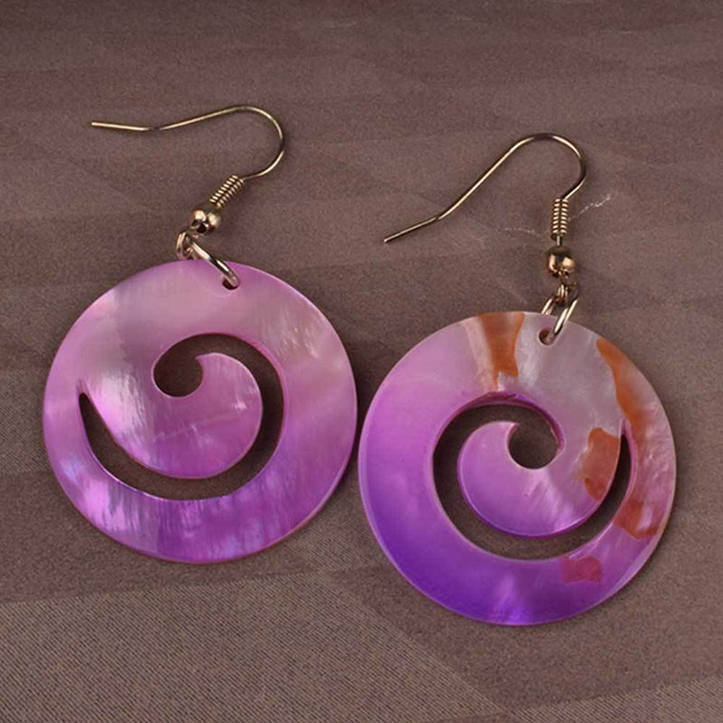Women Hollow Out Fashion Circle Earrings Jewellery HDY Purple