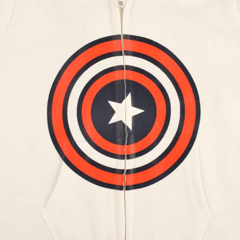 Captain America Fleece Full Body Romper Babywear Image Off White Red 6-12 Months