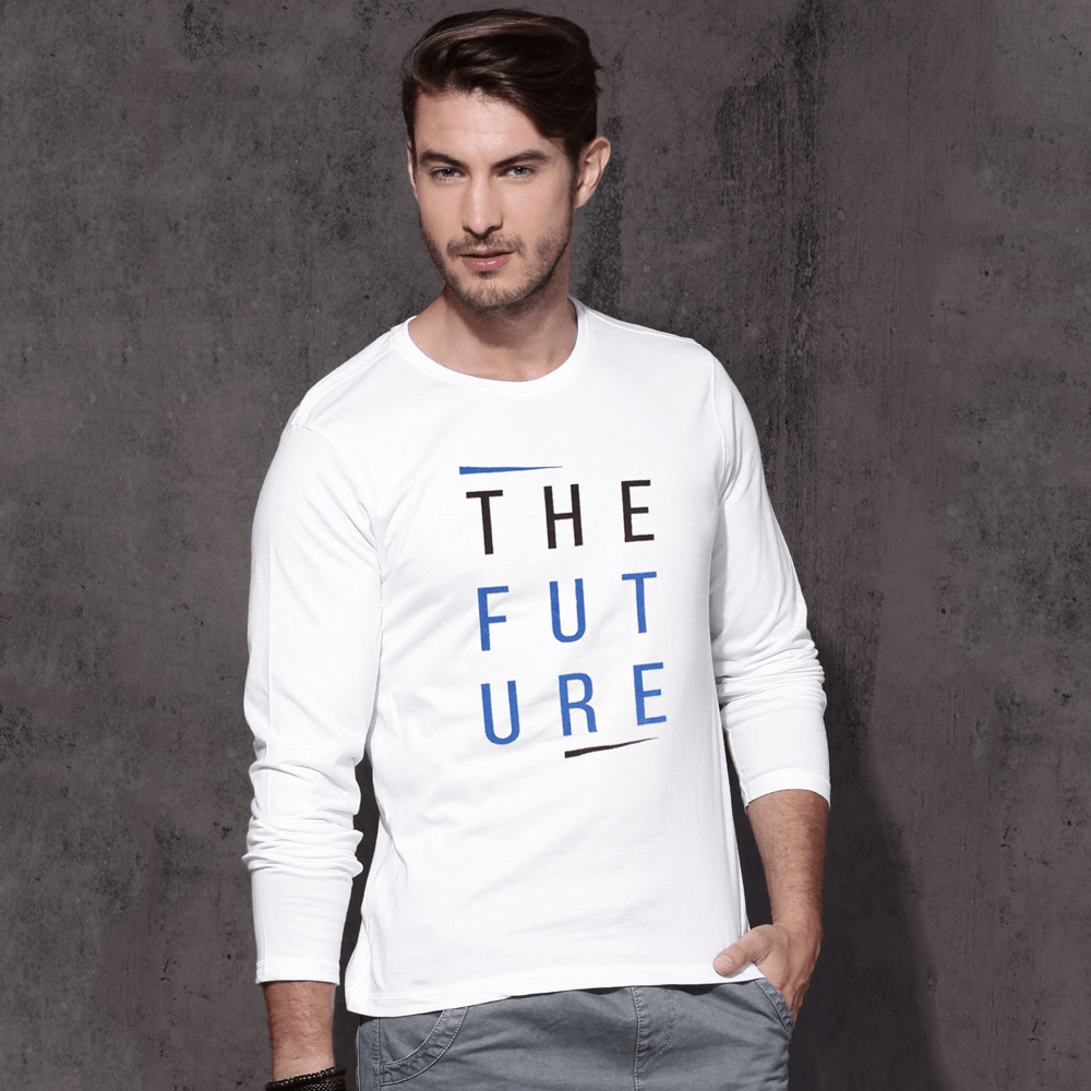 LE The Future Long Sleeve Crew Neck Tee Shirt Men's Tee Shirt Image White S